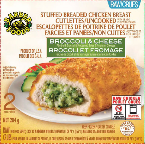 Barber Foods brand Stuffed Breaded Chicken Breast Cutlettes/Uncooked – Broccoli and Cheese - 284 grams