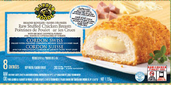 Barber Foods brand Raw Stuffed Chicken Breasts - Cordon Swiss - 1.13 kilograms