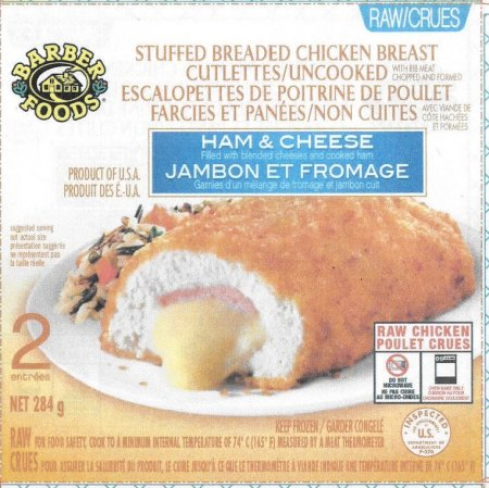 Stuffed Breaded Chicken Breast Cutlettes/Uncooked – Ham & Cheese