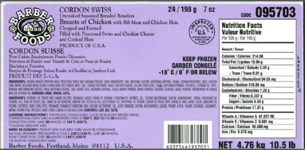 Barber Foods Brand Uncooked Stuffed Chicken Recalled Due To