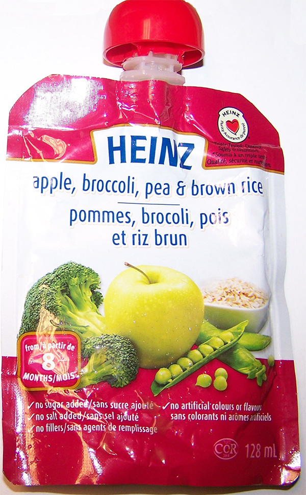 Heinz: Apple, broccoli, pea & brown rice - 128 millilitres