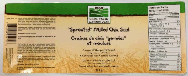 "Now Real Food - ""Sprouted"" Milled Chia Seed"