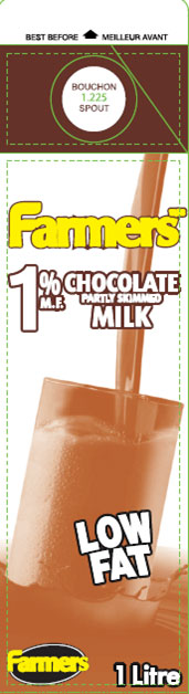 Farmers 1% Partly Skimmed Chocolate Milk - 1 Litre - front