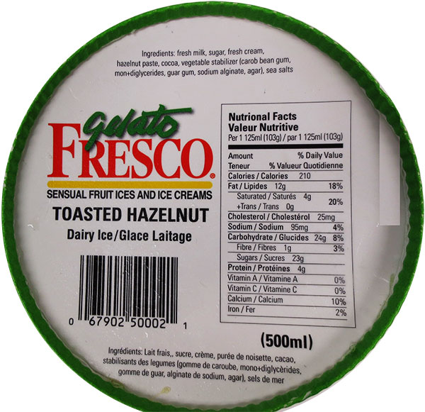 Gelato Fresco Toasted Hazelnut Dairy Ice - 500 millilitre - top