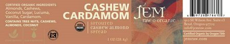 Cashew Cardamom - Sprouted Cashew Almond Spread - 28.4 grams