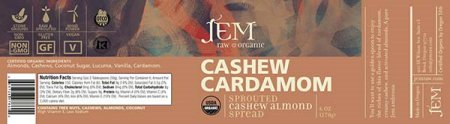 Cashew Cardamom - Sprouted Cashew Almond Spread - 170 grams
