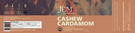 Cashew Cardamom - Sprouted Cashew Almond Spread - 455 grams