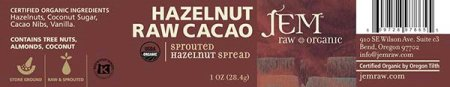 Hazelnut Raw Cacao - Sprouted Hazelnut Spread - 28.4 grams