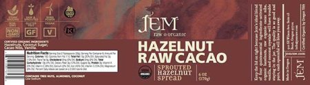 Hazelnut Raw Cacao - Sprouted Hazelnut Spread - 170 grams