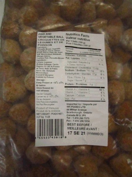 None – Imported by TFI Foods Ltd - Fish and Vegetable Ball