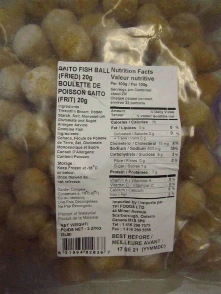 None – Imported by TFI Foods Ltd - Saito Fish Ball (Fried) 20 gram