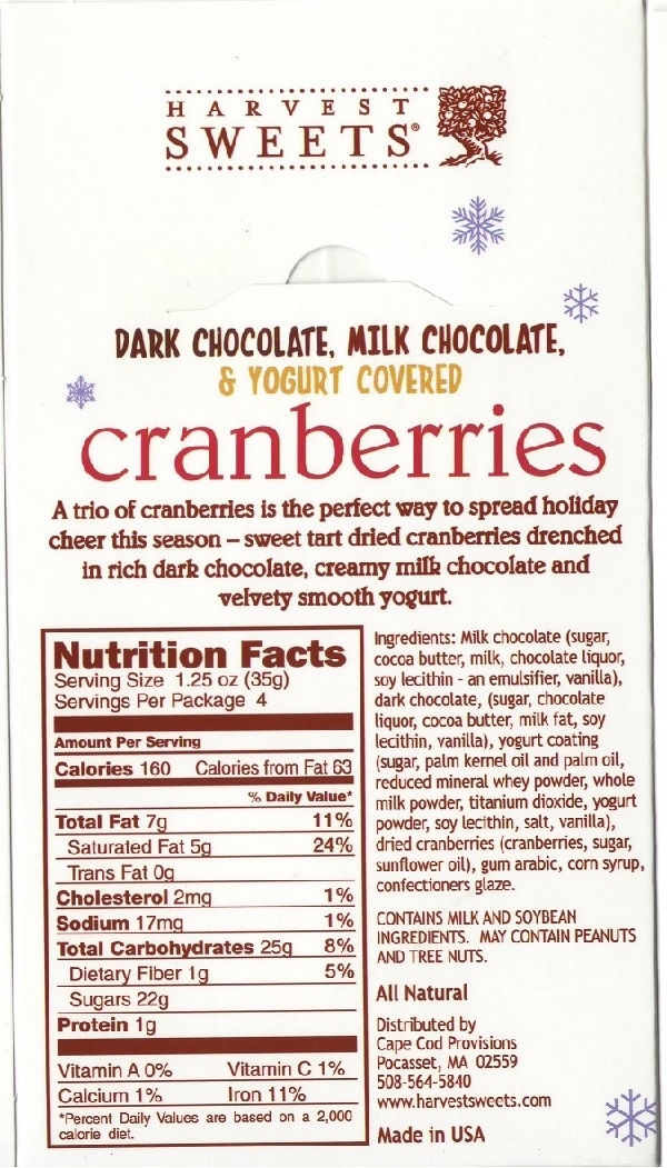 Harvest Sweets - Dark Chocolate Milk Chocolate & Yogurt Covered Cranberries