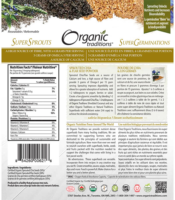 Sprouted Chia & Flax Seed Powder - back of package - 227 grams