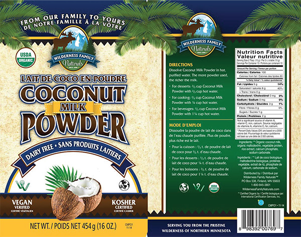 Wilderness Family Naturals - Coconut Milk Powder - 454 gram