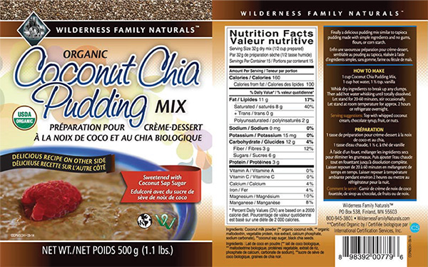 Wilderness Family Naturals - Organic Coconut Chia Pudding Mix - 500 gram