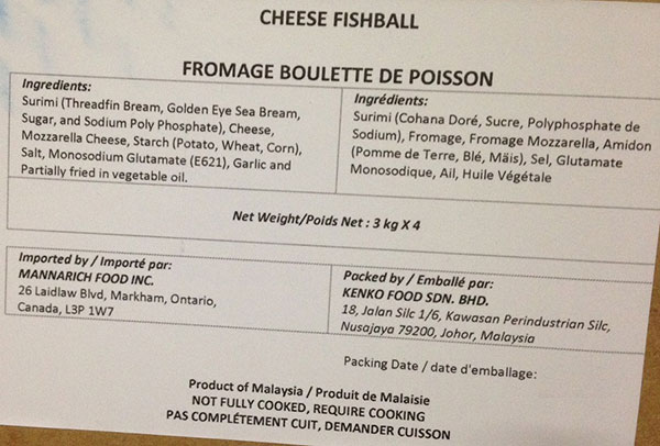 Mannarich Food - Cheese Fishball - 4 x 3 kilogram