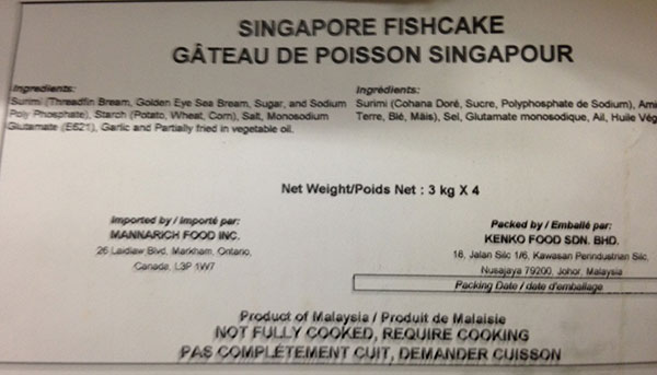 Mannarich Food - Singapore Fishcake - 4 x 3 kilogram