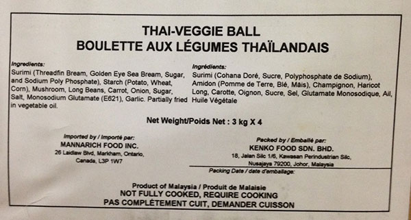 Mannarich Food - Thai-Veggie Ball - 4 x 3 kilogram