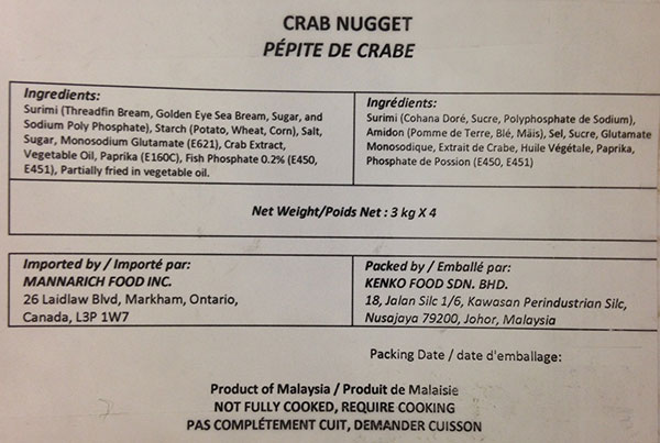 Mannarich Food - Crab Nugget - 4 x 3 kilogram