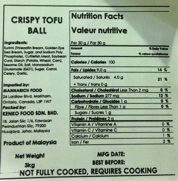Mannarich Food - Crispy Tofu Ball - 4 x 3 kilogram