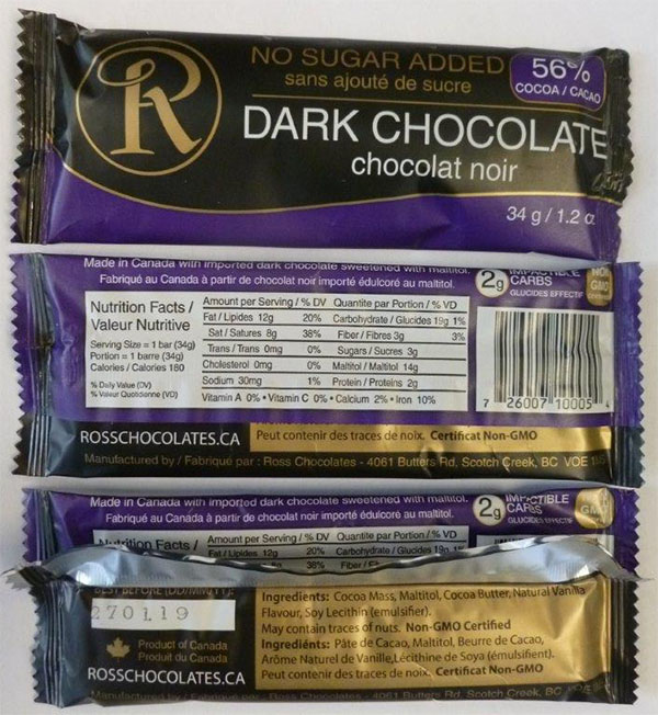 Ross Chocolates - No Sugar Added Dark Chocolate - 34 grams