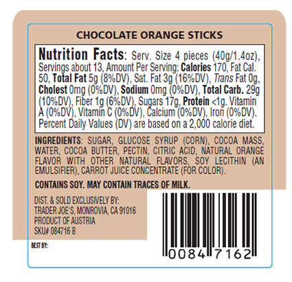 Chocolate Orange Sticks - back of package