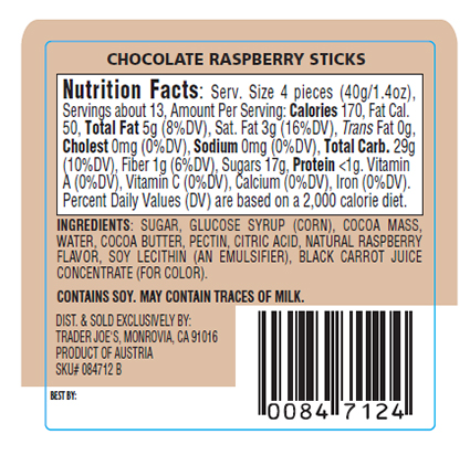 Chocolate Raspberry Sticks - back of package