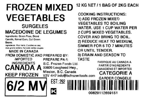 None - Frozen Mixed Vegetables - 2 kilograms
