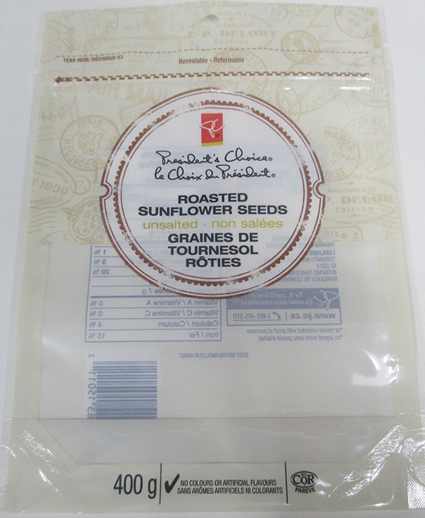 President's Choice - Roasted Sunflower Seeds Unsalted - 400 gram