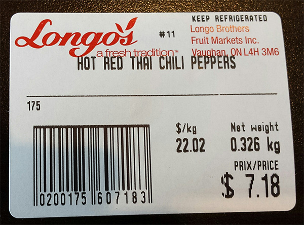 Longo's: Hot Red Thai Chili Peppers