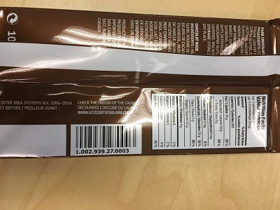 Ikea CHOKLAD MÖRK Dark chocolate label back