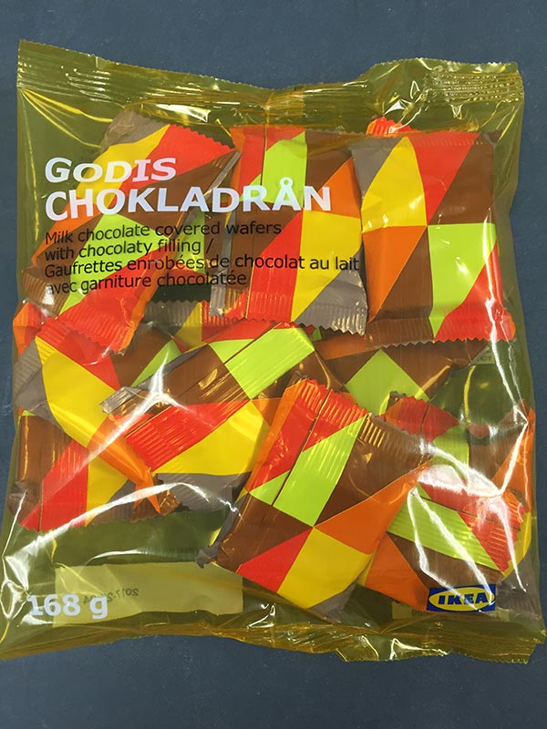 Ikea GODIS CHOKLADRÅN Milk chocolate covered wafers with chocolaty filling- front