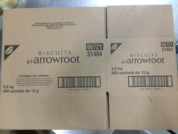Biscuits à l'arrowroot 3,6 kilogrammes