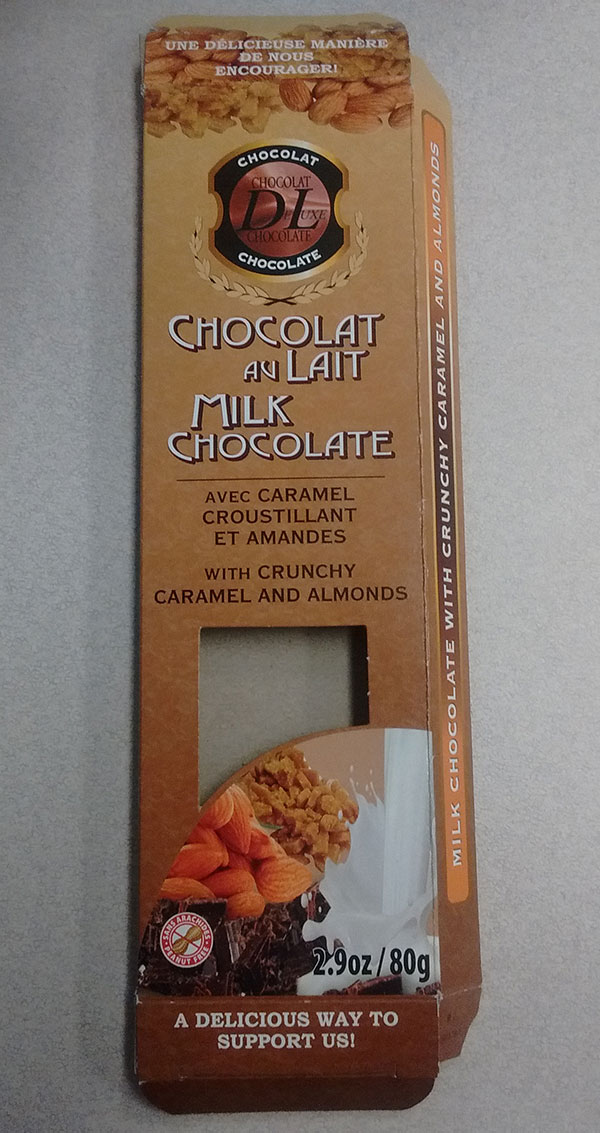 Chocolat de Luxe Chocolate: Milk Chocolate with Crunchy Caramel and Almonds - 80 grams
