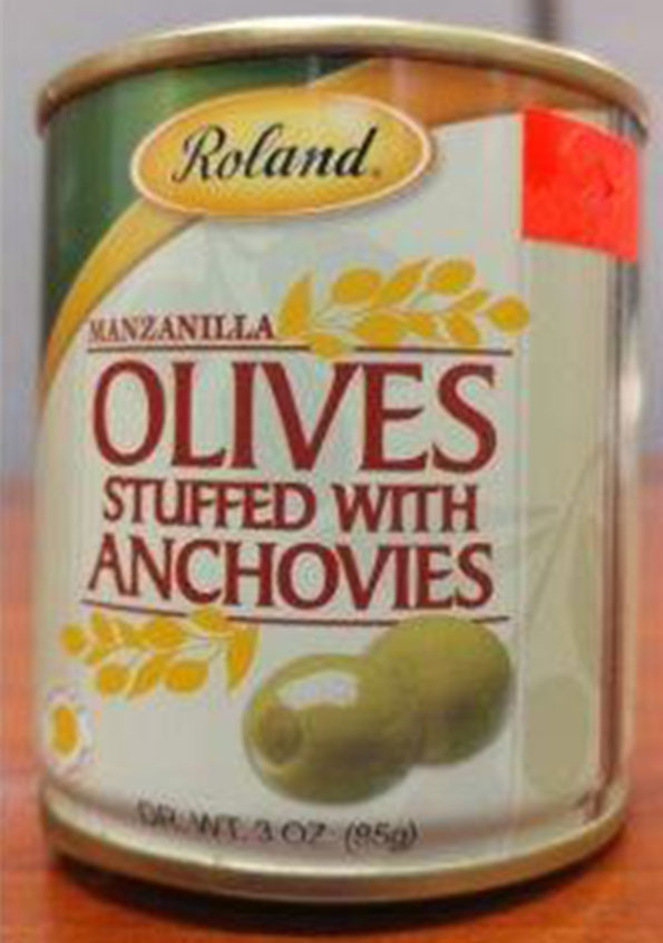 Roland : Manzanilla Olives stuffed with Anchovies – 85 grammes (3 once)
