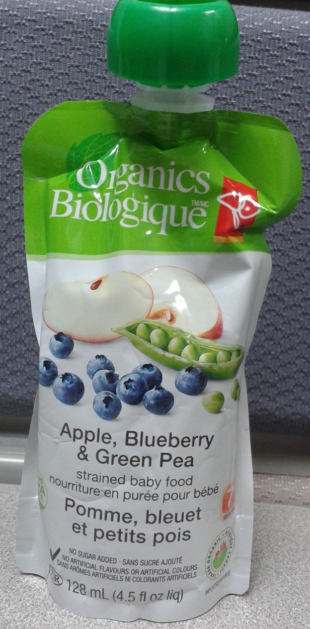 Apple, Blueberry and Green Pea strained baby food - 128 millilitre