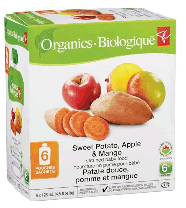 Sweet Potato, Apple and Mango - strained baby food - 6x128 millilitre