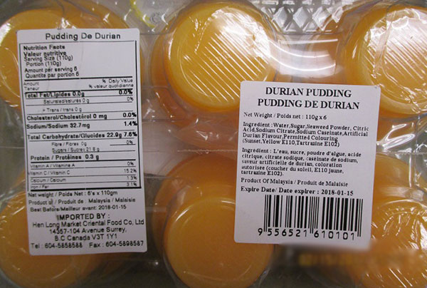Happy - Durian Pudding - 110 gram x 6 - back