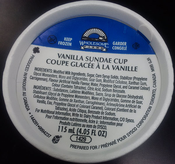 Wholesome Farms - Vanilla Sundae Cup - 115 millilitre