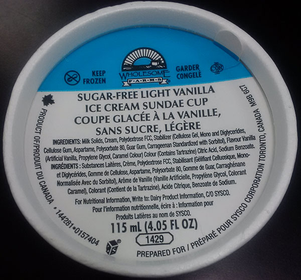 Wholesome Farms - Sugar-Free Light Vanilla Ice Cream Sundae Cup - 115 millilitre