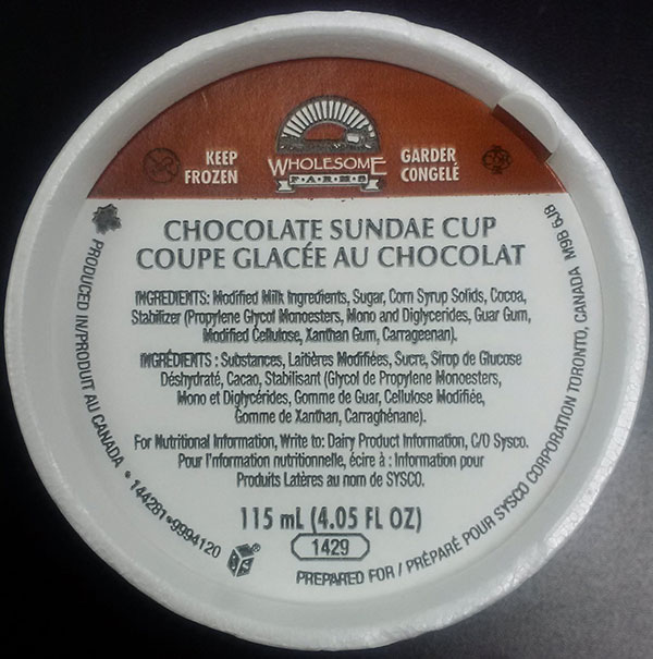 Wholesome Farms - Coupe glacée au chocolat - 115 millilitre