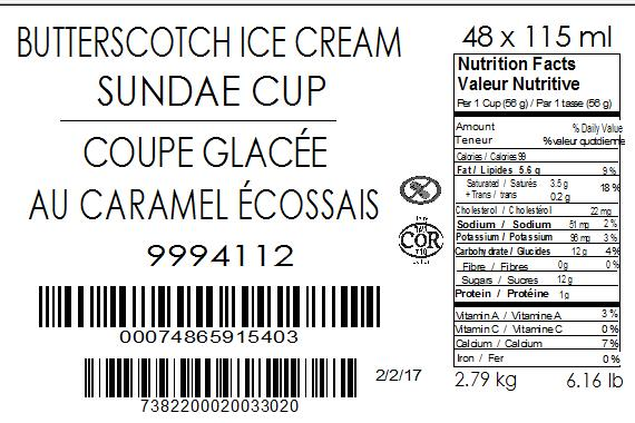 Butterscotch Ice Cream Sundae Cup 48 x 115 millilitre (case label)