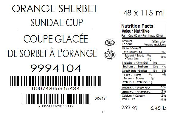 Orange Sherbet Sundae Cup 48 x 115 millilitre (case label)