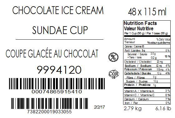 Chocolate Sundae Cup 48 x 115 millilitre (case label)