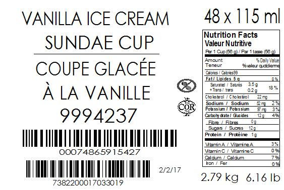 Vanilla Ice Cream Sundae Cup 48 x 115 millilitre (case label)