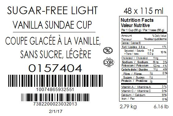 Sugar-Free Light Vanilla Sundae Cup 48 x 115 millilitre (case label)