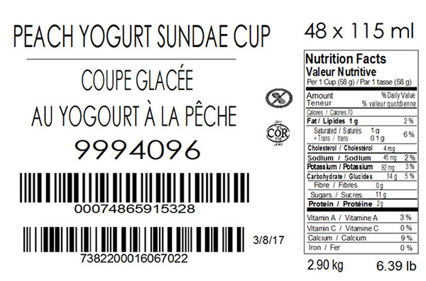 Wholesome Farms - Peach Yogurt Sundae Cup (case) - 48 x 115 millilitre