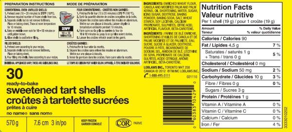 no name - Sweetened Tart shells