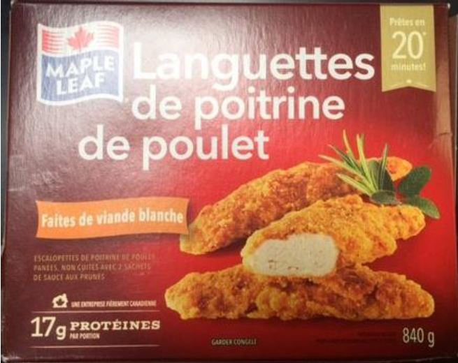 Maple Leaf - Chicken Breast Strips - french label