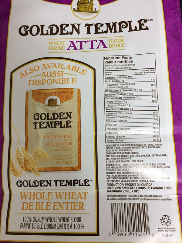 Golden Temple brand Atta Wheat Flour 9 kilograms back